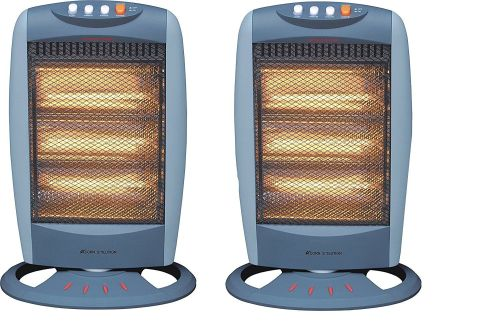 Acorn pack of 2 Oscillating Halogen Heater - 1200W - Tilt Safety Cut Off -