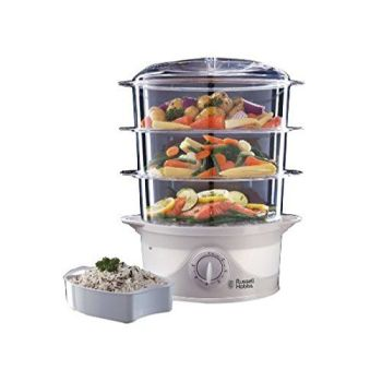 Russell Hobbs 21140 Three Tier Food Steamer, 9 L, 800 W - White - A