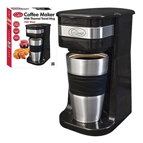 One Cup Filter Coffee Maker with Travel Mug and Lid, 700 Watt - A