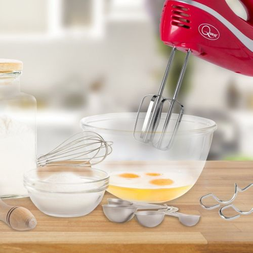 Professional 5-Speed Hand Mixer with Attachments, 300 W, Red - A