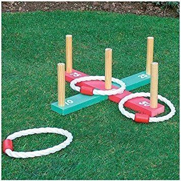 GARDEN/OUTDOOR ROPE QUOITS & WOODEN PEGS THROWING GAME - A