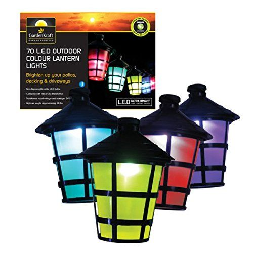 Assorted Colour Lantern String Garden Lights (Pack of 70) - A