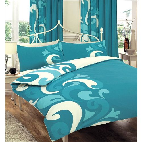 Just Contempo Reversible Duvet Cover Set, King, Teal - A