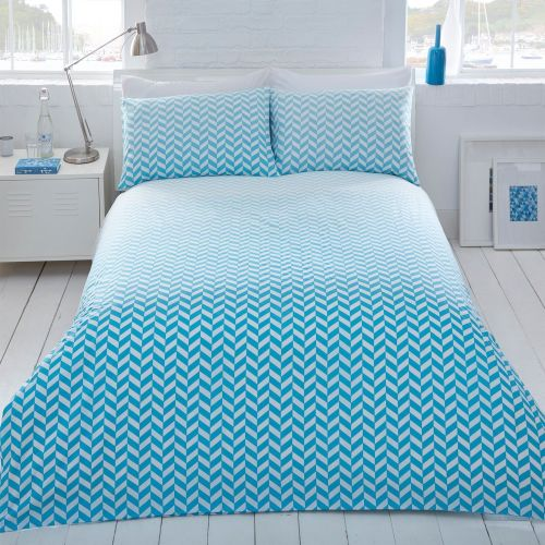 Pieridae Aqua Ombre Geo Duvet Quilt Cover Pillowcase Set Reversible - A