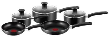 Tefal Essential Cookware Set - Black, 5 Pieces - A