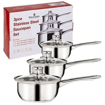 Grunwerg - 3 Piece Stainless Steel Saucepan Set - A