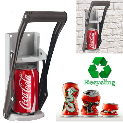 LARGE BEER TIN CAN CRUSHER WALL MOUNTED RECYCLING TOOL - AB