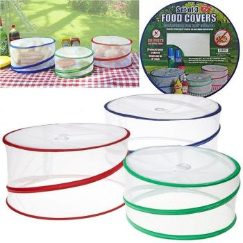 3 x COLLAPSIBLE POP UP FOOD COVERS OUTDOOR PICNIC PROTECTORS KITCHEN INSECT NET - AB