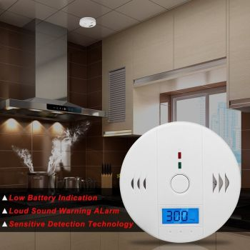 TOP-MAX White CO Alarm Carbon Monoxide Warning Gas Sensor Detector Monitor With LCD Digital Display - A