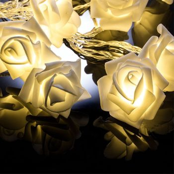 20 LED Battery Operated White Rose Flower Lights