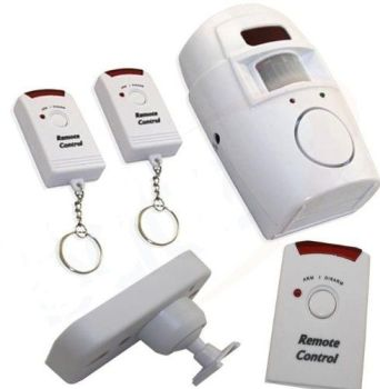 WIRELESS PIR MOTION SENSOR ALARM + 2 REMOTE CONTROLS SHED HOME GARAGE CARAVAN - A