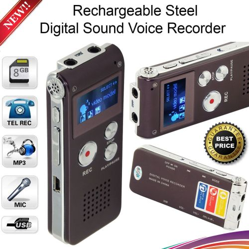 Rechargeable 8GB Digital Sound Voice Recorder Steel Dictaphone MP3 Player R
