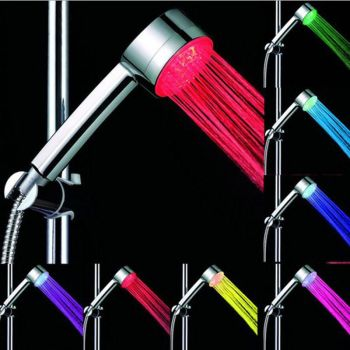 LED BATHROOM SHOWER HEAD WATER HOME GLOW AUTOMATIC 7 COLOUR CHANGING - AB