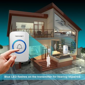 Wireless Doorbell, TeckNet Wall Plug-in Cordless Door Chime at 820-feet Range with 32 Chimes - A