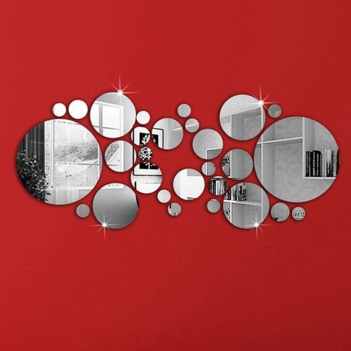 OMGAI Round Circle Mirror Setting Wall Sticker Decal Home Decoration - A