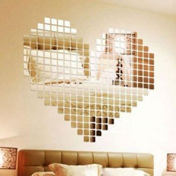 Ardisle 100 piece Mirror Tile Wall Sticker 3D Decal Mosaic Room Decor Stick On - A