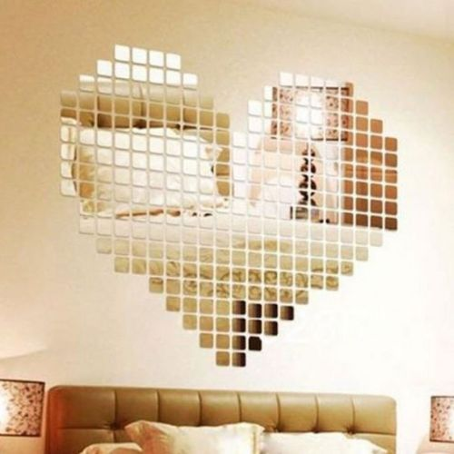 Ardisle 100 piece Mirror Tile Wall Sticker 3D Decal Mosaic Room Decor Stick