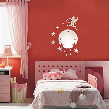 Walplus Mirror Wall Art Flying Fairy Tinker Bell with Stars - A