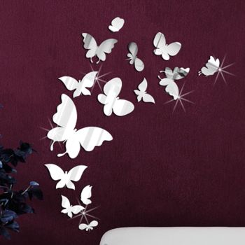 Walplus Mirror Butterflies Wall Stickers - A