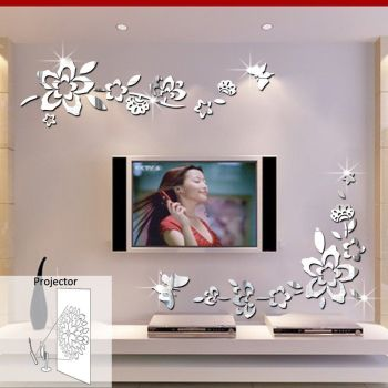 ufengke® 3D Diagonal Flowers Mirror Effect Wall Stickers - A