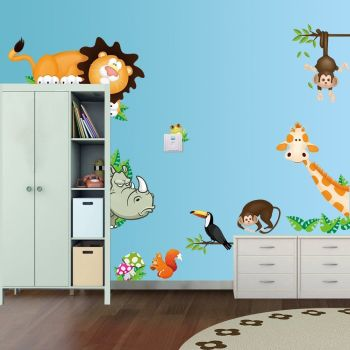 Cute Animal Wall Sticker DIY Removable Art - A