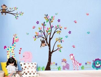 Rainbow Fox Jungle Forest Zoo Animal World Monkey Playing on Trees Wall Decal Sticker - A