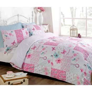 Just Contempo Butterfly Floral Patchwork Duvet Cover Set, - A