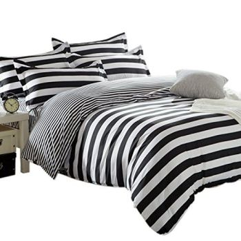 Zebra Black and White Stripe Reversible Duvet Covers Quilt Covers Bedding Sets - A