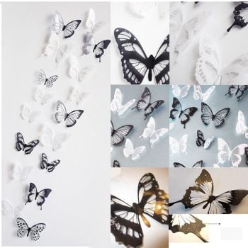 18Pcs 3D PVC White BLack Crystal Butterfly Decor Wall Sticker Decals - AB