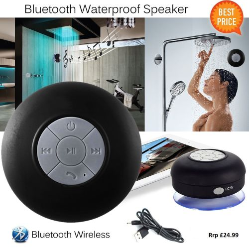Waterproof Wireless Bluetooth Shower Speaker Handsfree Built in-MIC - AB