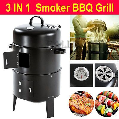 3 Layer Steel BBQ Charcoal Grill Barbecue Smoker - AB
