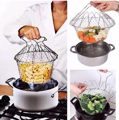 PROFESSIONAL CHEF BASKET COOKING DRAINING COLANDER STEAMER COOKWARE COOK NE