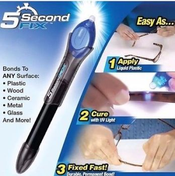 5 Second Fix Liquid Plastic UV Welding Kit Fix Repair & Seal Wood Glass Fabric - AB