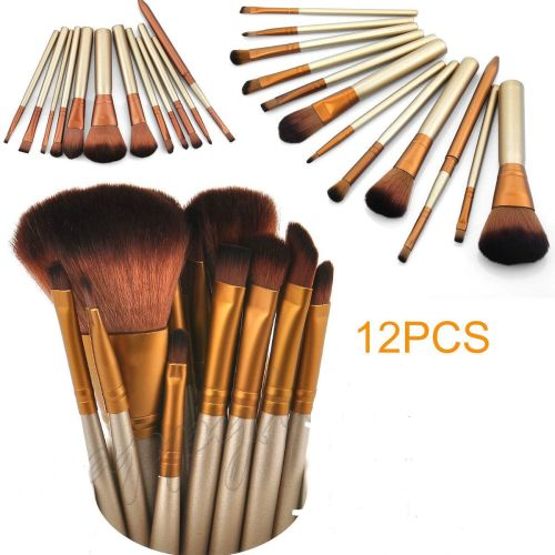 12PCS PRO Make up Brush Set Cosmetic Powder Foundation Blusher Lip Brush To