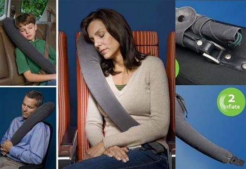 Luxury Car Seat Inflatable Travel Pillow Head Neck Rest Cushion Children Ad
