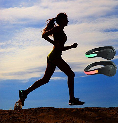 2 x Flashing LED Clip On Shoe Clip For Night Time Running Jogging Walking T