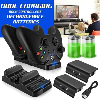 Dual Charger Dock+2 Rechargeable Battery Packs For Xbox One