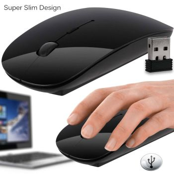 Slim 2.4 GHz USB Optical Wireless Cordless Scroll Mouse