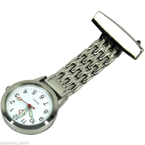 High Quality Nurses Stainless Steel Fob Watch Silver Pocket Watch Pin to Sh