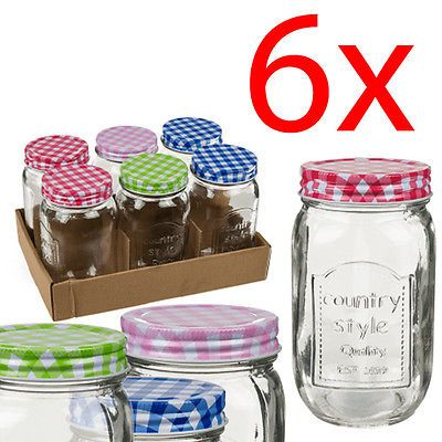 SET OF 6 MASON JAM JAR SAUCE STORAGE PRESERVE PICKLE CHUTNEY