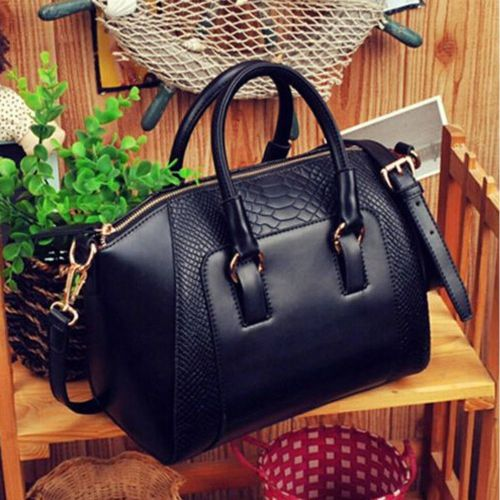 Fashion Designer Large Womens Leather Style Tote Shoulder Bag - Black