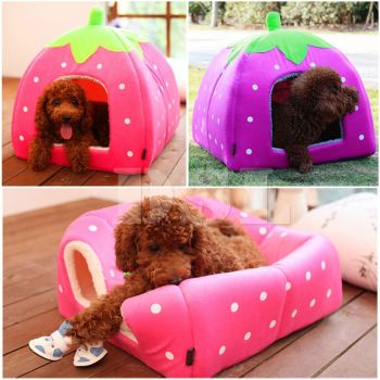 Soft Strawberry Pet Igloo Dog Cat Bed House Kennel Doggy Fashion Cushion Basket - SMALL