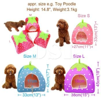 Soft Strawberry Pet Igloo Dog Cat Bed House Kennel Doggy Fashion Cushion Basket - MEDIUM