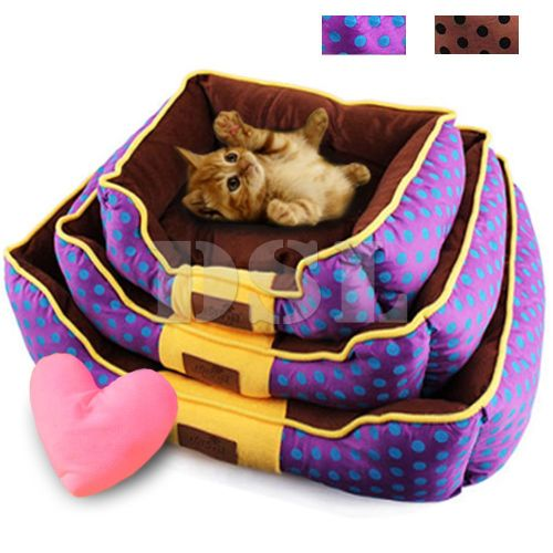 Luxury Soft Fabric Washable Dog Cat Pet Warm Basket Bed Fleece Lining + Pil