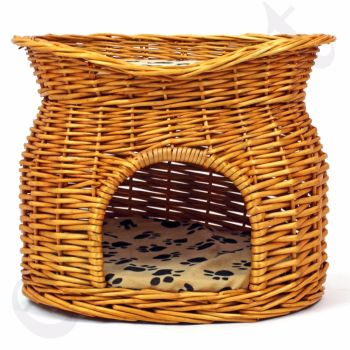 Wicker Pet Bed Cat Puppy Small Dog Basket Pod Two Tier
