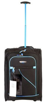 Wheeled Ryanair Cabin Bag Flight Hand Luggage Travel Trolley Suitcase BLK BLUE