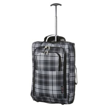 Wheeled Ryanair Cabin Bag Hand Luggage Travel Trolley Suitcase Checkered Grey
