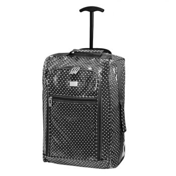 Wheeled Ryanair Cabin Bag Hand Luggage Travel Trolley Suitcase Shiny Polka