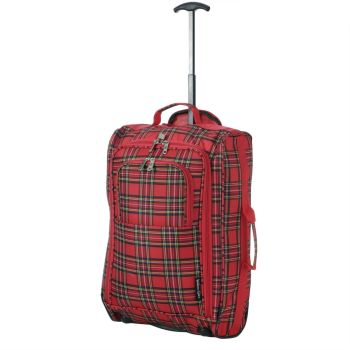 Wheeled Ryanair Cabin Bag Hand Luggage Travel Trolley Suitcase Checkered Red