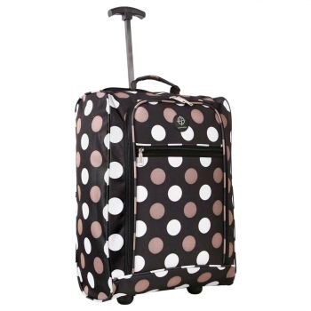 Wheeled Ryanair Cabin Bag Flight Hand Luggage Travel Trolley Suitcase Polka Dots